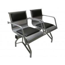 """Секция стульев """"Стайл-М"""" со всеми подлокотниками разборная 2-х местная"""