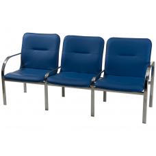 """Секция стульев """"Палермо"""" 3-х местная, полимерное покрытие SL (серый цвет)"""