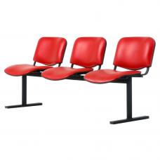 """Секция стульев """"ИЗО"""" на металлической раме (цвет алюминий)"""