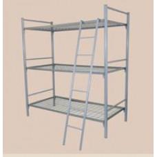 Кровать трехъярусная металлическая МК-3 с лестницей